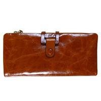 Free shipping new Ms. Long Wallet leather tri-fold wallet fashion wallet zipper oil wax leather wallet women