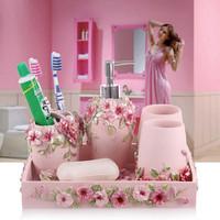 Eco-friendly Resin Bathroom Accessories Liquid Soap dispenser +toothbrush holder rack +Soap box+ Cup Five pieces bathroom set