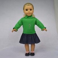 "Free shipping!! Doll Clothes fit for 18"" American Girl Dolls, Rreen Shirt & Denim Skirt, 2pcs, girl birthday present,  gift, A11"