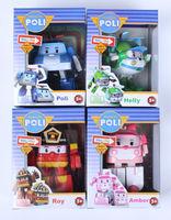 Hot sale Poli figure 4PCS/LOT Robocar poli deformation car bubble South Korea Thomas toys Pink/Green/Red 4 mix robocar