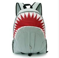 070948  Fashionable canvas city boy lovely animal shark large capacity backpack to travel  free  shipping