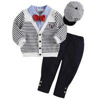 Retail 4pcs set baby clothes jakcet coat tie cap trousers spring autumn infant clothes sets