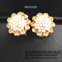 HEE028 Wholesale 2014 New 14K Gold Plated Tassel Pearl Stud Earrings women brincos bijoux boucle d'oreille Mujer ouro
