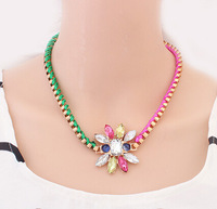 Min. Order $8.8(Mix Orders) NEW 2014 Hot Sale Colorful Ribbon Woven Bohemia Fashion Women Necklaces FN0097