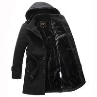M-4XL 2014 fashion men's winter plus thick velvet hooded windbreaker long jacket single-breasted woolen coat down & parkas men