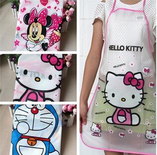 Waterproof PE Kawaii Jingle cats Adult Women Lady's Kitchen Cooking Pinafores Aprons Cartoon Novelty(China (Mainland))