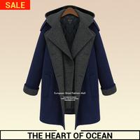 Fashion Women Wool Long Coat Desigual Brand Female 2 in 1 Turn-down Winter Trench Coat Solid Long Blazer W096