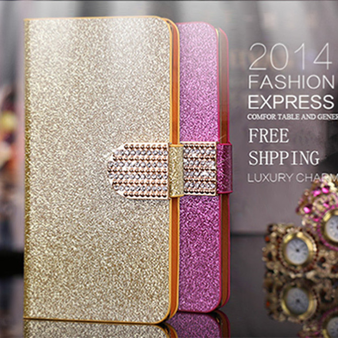Luxury Glitter Diamond PU Wallet Leather Case For HTC Desire V T328W Cover For HTC Desire X T328E Flip Buckle Stand Card Holder(China (Mainland))