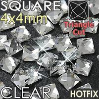 Square 4X4mm 350pcs/Lot Clear Crystal HotFix Flat Back Rhinestones strass,Fancy shape DMC glass Hot Fix stones for wedding