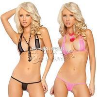 2014 Women extreme hot Sexy tiny mini micro brazilian Bikini swimwear Set bra + G string thong exotic Lingerie Underwear sets
