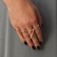 2014 New Fashion Adjustable size four fingers tassel chains Even the refers to the ring for women