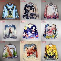 Novelty Fashion Women/Men's cartoon 3d sweatshirts animals hoody women hoodies sweater tops Nice print red wolf/fish WTH12