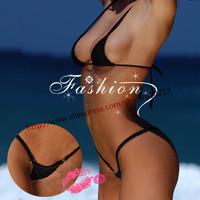2014 women extreme sexy invisible mini micro triangle brazilian Bikini swimwear beachwear Set G string thong lingerie underwear