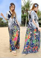 2014 V-Neck floral Printing Long/maxi Casual dress Summer Women Dress Plus Size XL-5XL White, Black Free Shipping