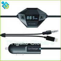 Multi-function Car Kit Wireless FM Transmitter Modulator Transmitter Car MP3 Player 3.5mm + iPhone port free shipping