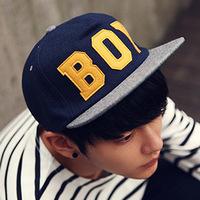 Korean version of male and female models woolen winter spell color BOY letters hip-hop baseball cap flat along