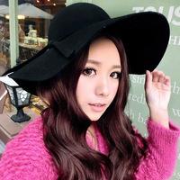 Kim Tae Hee big wave file wool hat brimmed hat woolen big waves along the brim 100% pure wool