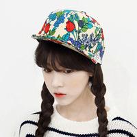 Korean version of the new printing flat -brimmed hat hiphop hip-hop Harajuku tide level along baseball hats wholesale