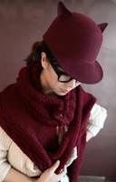 Yiwu factory wholesale winter fashion hat little devil equestrian small cap wool hat small hat Nepal