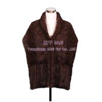 BG30518  New 2014 Fashion Shawl Genuine Mink Fur ShawlWholesale Retail Real Fur Knitted  Shawl