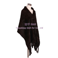 BG30516New 2014 Fashion Shawl Genuine Mink Fur Shawl WithTassels  Wholesale Retail Real Fur Knitted  Shawl