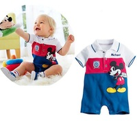 2014 Retail summer the hot cute cartoon print stripe romper baby turn-down collar short sleeves children clothing