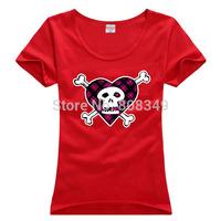 100% Cotton Women's Tees Rock skeleton pattern T-Shirts S/M/L/XL Fashion Large Size Shirts short sleeve more colors