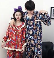Spring Autumn Men Women 100% Cotton Long Sleeve Cartoon Bear Pajama Set Sleepwear Nightwear Pajamas Cardigans Home Clothing