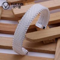 Jewelry Wholesale 10pcs/lot B029  SGS Test Past Latest Trendy Classic 925 Silver Plating Bangle