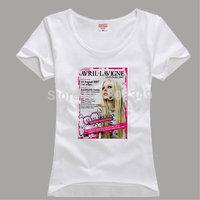 100% Cotton Women's Tees avril white color T-Shirts S/M/L/XL Fashion Large Size Shirts short sleeve