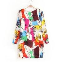 Spring new models graffiti print dress with lantern, 2014 fall fashion for women, sale, american apparel, china air express