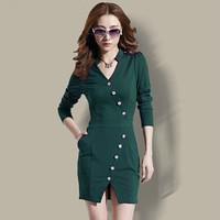 2014 European Autumn & Winter Office Women Work Wear Slim OL Dress Casual Novelty Long Sleeve V-Neck Dresses Plus Size  DD166