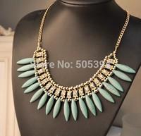 Women Fashion Crystal Pendant Chain Choker Chunky Statement Bib Necklace
