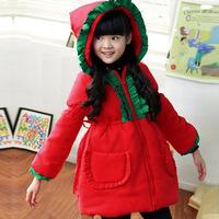 high quality girls long coat Jeanette girls cotton coat for Christmas Kids red coat