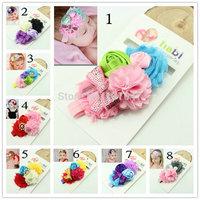 Baby Girls Headwear New Toddlers Kids Infants Crochet Hairband & Big Flower Headbands Children Accessories 6pcs