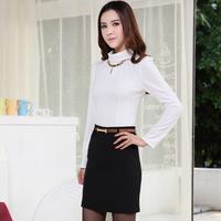 New 2014 Spring Autumn Fashion Ladies 2 Piece set Women Clothing Sets Female Top and Skirt Sets Elegant White Free Shipping