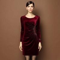 Autumn British Princess Style Slim Dress Women Fashion Diffuse Diamonds Decorate Solid Wine Red Green Purple Club Formal Dresses