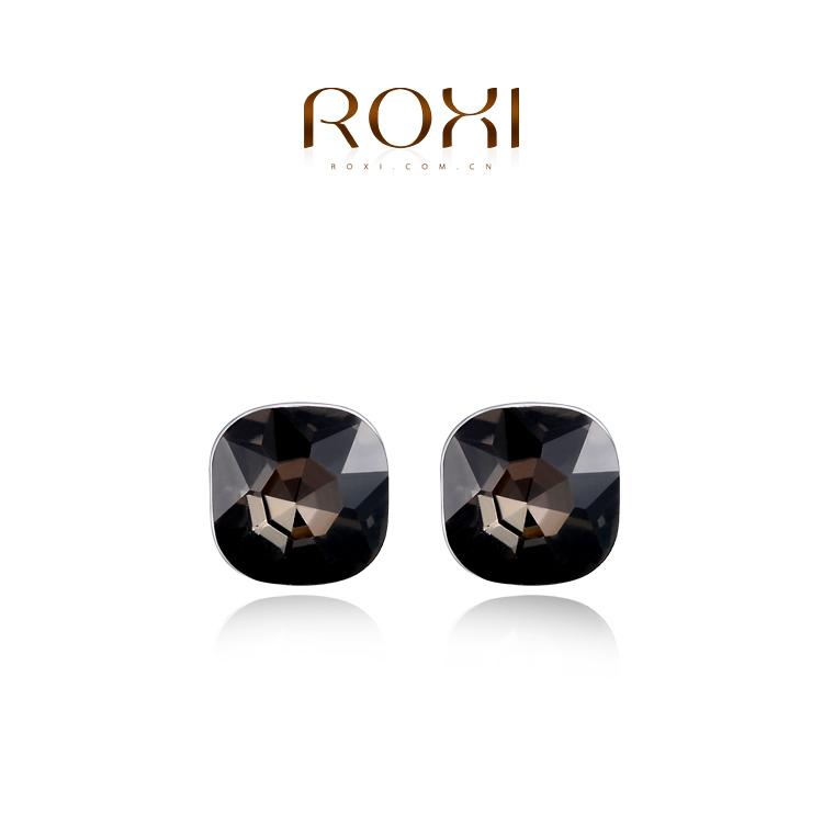 Wholesale ROXI Fashion Jewellery Gold Plated Austrian Crystal Big Black CZ Diamond Love Gift Stud Earrings