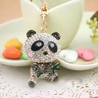 Christmas Gift Full Rhinestone Crystal Cute China Panda  Keychain Alloy Keyring handBag Charm Real Gold Plated ,Nickel free