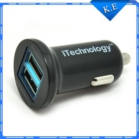 Promotion Sale dual usb car charger mini mobile charger for iPhone 5S,Samsung Galaxy S2 S3 S4 S5 HTC HuaWei ,Black/White Color