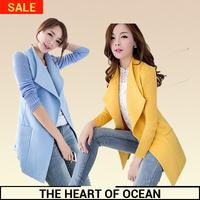 2014 Fashion Wool Women Coat Patchwork Turn-Down Collar Female Trench Coat Desigual Thin Outwear long Winter Coat W097