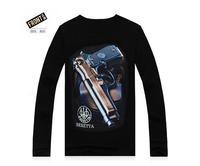 Hot Sale New 100% Cotton Good Quality 2014 Mens Casual Long Sleeves Lumious 3D Tshirts Cool Gun Black Street Wear Clothing