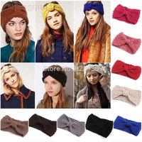 Fashion Women Girl Knit Headband Crochet Hairband Beanie Ear Warmer Headwrap Turban Bow knot Style