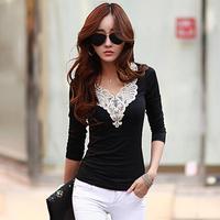 Autumn Women's Clothing Long Sleeve V-neck Lace Collar Cotton Tops Vintage Bodycon Elegant Basic T Shirt Blusas Femininas A101