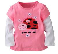 6pcs/Lot Free shipping Wholesale girl spring autumn cotton t shirt girl basic long sleeve t shirt
