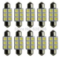 10pcs Xenon White 36mm Festoon 5050 SMD 6 LED C5W DE 3175 Car Led Auto Interior Dome Door Light Lamp Bulb Pathway lighting 12V