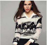 camisas femininas 2014 Women Blouse Chiffon V-neck Chinese Ink Painting Horse Long Sleeve blusas roupas femininas S-XL
