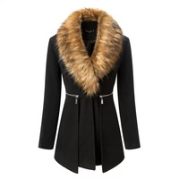 Top 2014 autumn/ winter new arrival women's fur collar woolen fashion casual wool coat zipper casacos femininos woolen trench