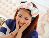 5pcs Large Bow Striped Velvet Hairlace Elastic Headband Sport Hairdo Towel Capitium For Wash Mask