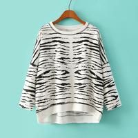 2014 New fashion Europe Women fashion leopard print bat Hoodies coats Lady casual loose irregularity Sweatshirt #J378